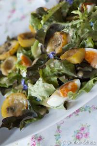 Salat mit Roquefort-Kartoffeln